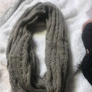 Tan color infinity scarf wore only one time .